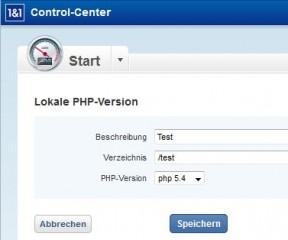 1und1 Lokale PHP Einstellung