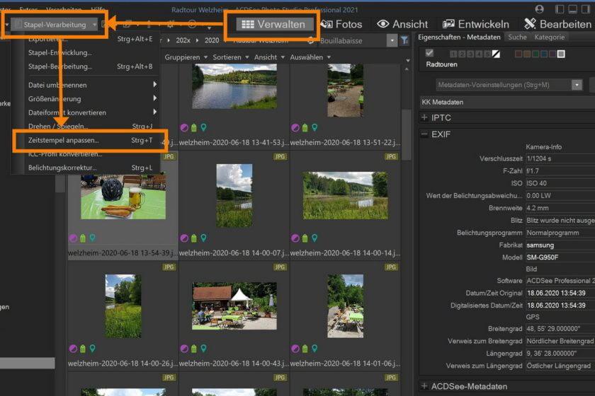 Aufnahmezeit und Aufnahmedatum von mehreren Fotos per ACDSee korrigieren