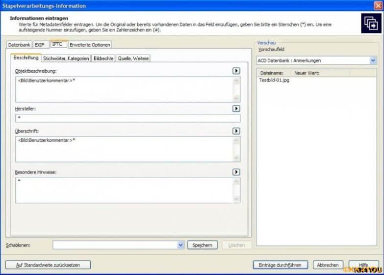 IPTC Metadaten per ACDSee Stapelverarbeitung beschreiben