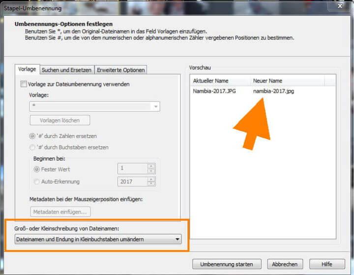 Dateiname und Dateiendung in Kleinbuchstaben