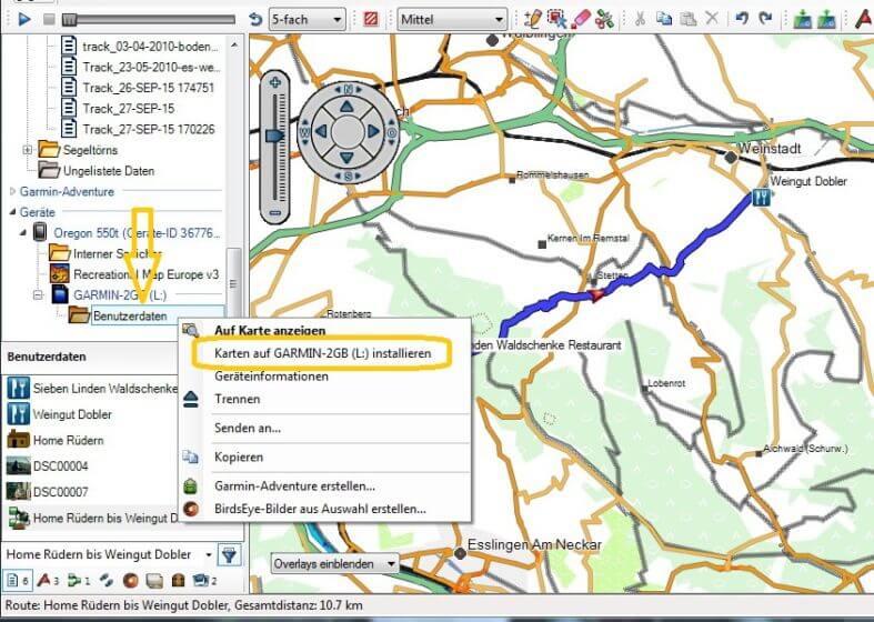 GPS Karten installieren -Darstellung Basecamp mit angeschlossenem Oregon 550t und eingebauter microSD-Karte
