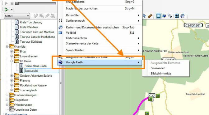 Aufruf der Kartendarstellung in Google Earth