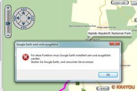 BaseCamp Kartenansicht Google Earth -Fehlermeldung