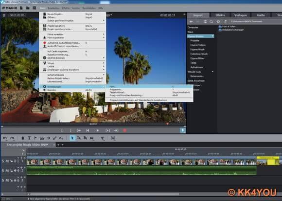 Magix Video -Menüpunkt Projekt- und Filmeinstellungen