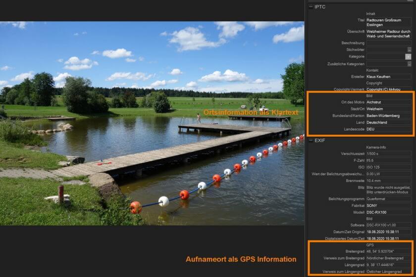 IPTC Information nach durchgeführtem Geotagging und Übernahme von Ortsinformationen