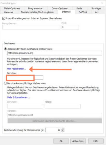 GeoSetter -Option Internet