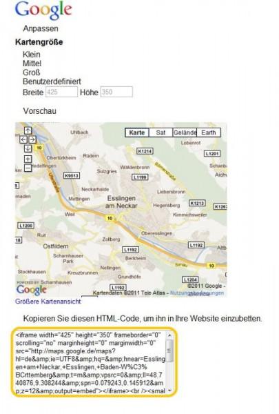 Einbinden von Google Maps per ifram