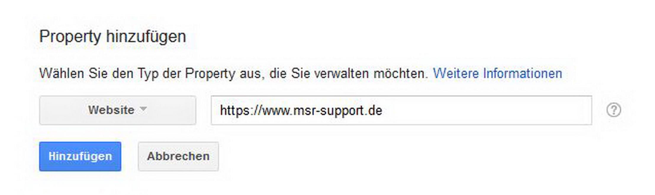 Neue URL in Search Console anlegen