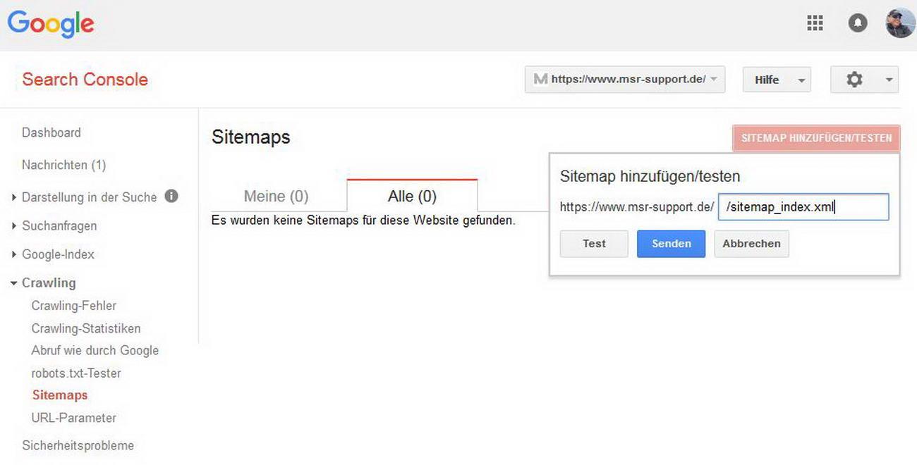 Sitemap hinzufügen