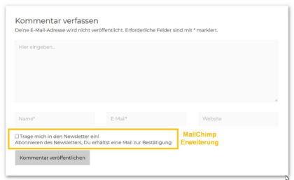 Kommentarfelder mit Erweiterung MailChimp