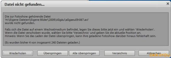 Magix -Fehlermeldung -Datei nicht gefunden