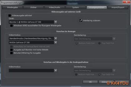Magix Video deluxe Programmeinstellungen  -Anzeigeoptionen
