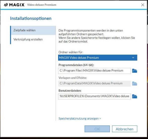 Magix Video Programmeinstellungen -Installationsoptionen