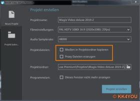 Magix Video deluxe Programmstart -Projektdateien nicht ausgewählt