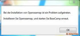 Fehlermeldung nach der Installation von OpenSeeMap und dem Start von BaseCamp