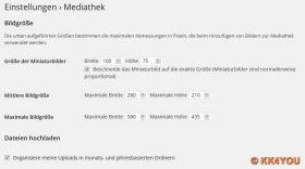 Web-Bilder: Empfohlene Einstellung der Bildgrößen in der Mediathek