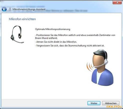 Schrittweise Anpassung des Mikrofonpegels per Spracherkennung
