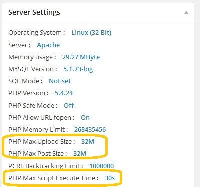 Server Settings nach Änderung der php.ini