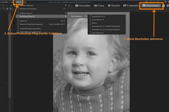 Auswahl der Nik_Filter im Modus Bearbeiten