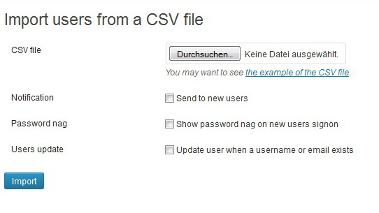 Import users from a CSV File