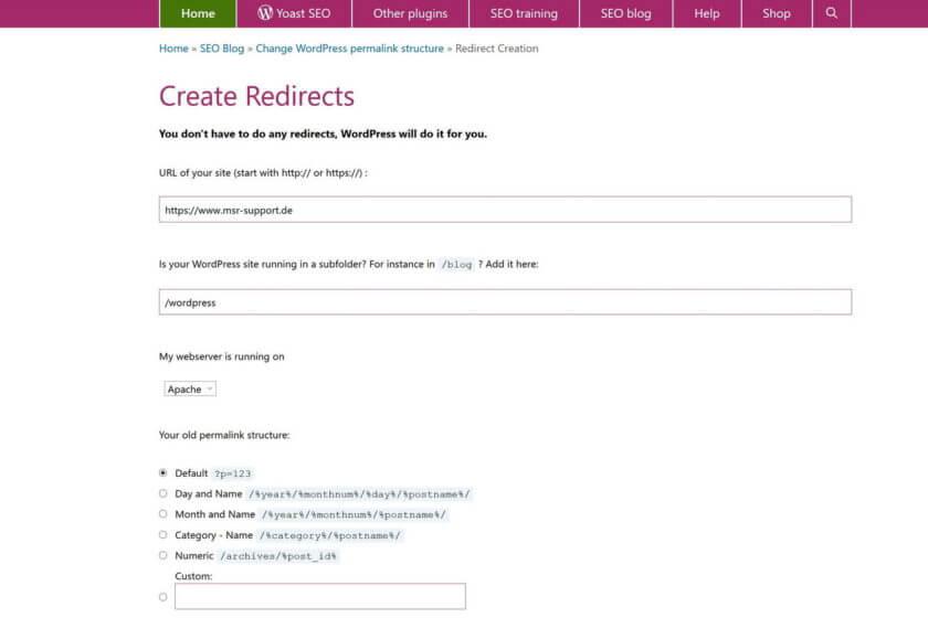 Yoast Create Redirects