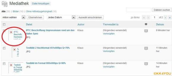 WP-Mediathek -Thumbnail verschwunden!